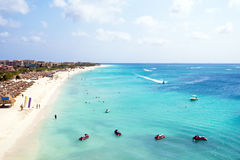 Aerial from Eagle beach on Aruba island Stock Image