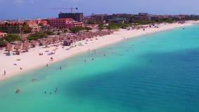 Aerial from Eagle beach on Aruba island. In the Caribbean Sea stock video