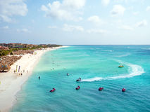 Aerial from Eagle beach on Aruba island in the Caribbean. Sea Royalty Free Stock Photography