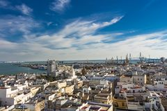 Aerial east view of buildings near Port of the Bay of Cadiz stock images