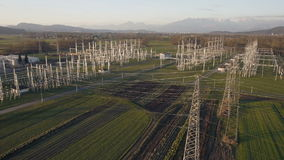 AERIAL - Electrical energy facility in a countryside stock video