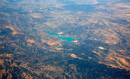 Aerial Embalse Santolea Dam in Aragon Spain Stock Photo