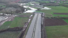 Aerial: End of the highway that is under construction. Section 2 of hightway E-763 in Serbia. End of the highway that is under construction stock footage