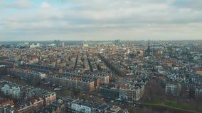 Aerial establishing shot of Amsterdam, Netherlands stock footage