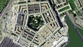 Aerial establishing shot of the Pentagon building
