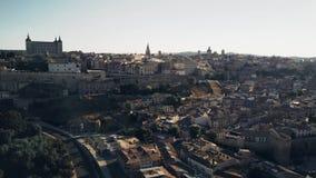 Aerial establishing shot of Toledo, Spain stock video