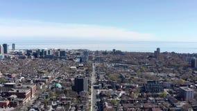 Aerial Establishing shot of a Toronto neighborhood during the spring.