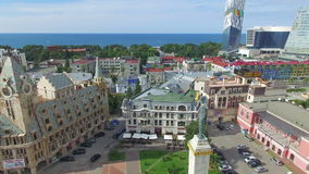 Aerial of Europe square in Batumi stock video