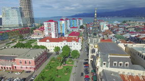 Aerial of Europe square in Batumi stock footage