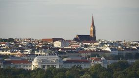 Aerial european city view stock video