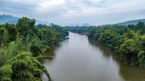 Aerial shot of Kwai river in Thailand royalty free stock photo