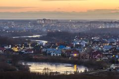 Aerial evening view Ivano Frankivsk city, Ukraine. Splendid sunset in big sity. Traveling concept background. Aerial evening view Ivano Frankivsk city, Ukraine Stock Photo