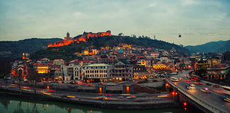 Aerial evening view of Old Tbilisi, Georgia Stock Image