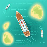 Aerial eye view sea boats and ship. Part of ocean with tropocal islands and cruise ships stock illustration