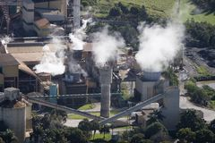 Aerial of factory. Aerial of sugar cane factory in Queensland Royalty Free Stock Photo