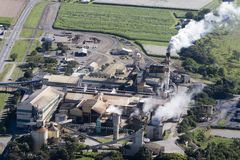Aerial of factory. Aerial of sugar cane factory in Queensland, Australia Stock Image