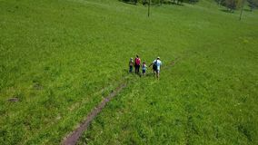 Aerial. family travellers with young children. father, mother and daughter went on a camping trip. tourists with. Aerial panorama of the green forest and river stock footage