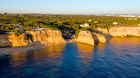 Aerial from famous beach Praia da Marinha in the Algarve Portuga Royalty Free Stock Photos