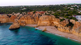Aerial from famous beach Praia da Marinha in the Algarve Portuga Royalty Free Stock Photo