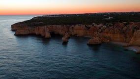 Aerial from famous beach Praia da Marinha in the Algarve Portuga Stock Photo