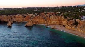 Aerial from famous beach Praia da Marinha in the Algarve Portuga Royalty Free Stock Image