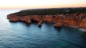 Aerial from famous beach Praia da Marinha in the Algarve Portugal Stock Photo