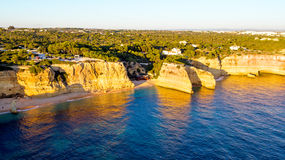 Aerial from famous beach Praia da Marinha in Portugal Stock Images