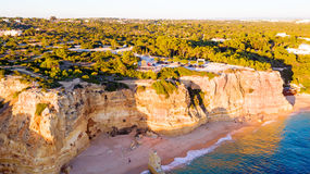 Aerial from famous beach Praia da Marinha in Portugal Royalty Free Stock Image