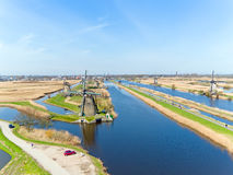 Aerial from famous traditional windmills on Kinderdijk in the Ne Stock Photo