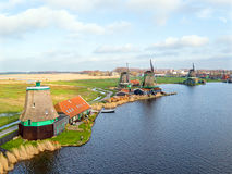 Aerial from famous traditional windmills at Zaanse Schans in the Stock Photo