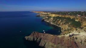 AERIAL. Fantastic View Of Fiolent Cape Coastline In Crimea stock video footage