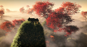 Aerial of fantasy grassy hill landscape with red autumn trees and lonely house on rock. Aerial of fantasy grassy hill landscape with red autumn trees and lonely Stock Photo