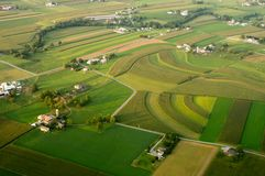 Aerial of Farmland. An aerial view of farm buildings and farmland in southern Lancaster County stock photos