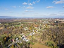 Aerial of Farmland Surrounding Shippensburg, Pennsylvania during. Late Fall Royalty Free Stock Photography