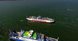 AERIAL. FERRY AT BLACK SEA stock footage