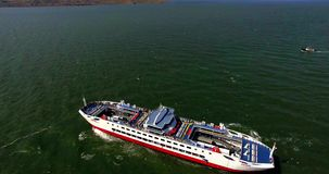 AERIAL. Ferry At Black Sea stock video