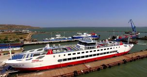AERIAL. Ferry At Black Sea stock video footage