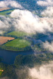 Aerial of fields near the river Stock Photography
