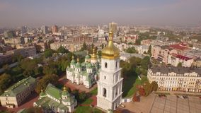 Aerial filming of St. Sofia Cathedral - the world famous historical monument. stock video