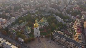 Aerial filming of St. Sofia Cathedral - the world famous historical monument. stock video footage