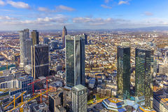 Aerial of the financial district in Frankfurt Royalty Free Stock Images