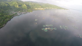 Aerial: Fish Farm On Taal Lake. Drone Flying Above Fish Farm on Taal Lake At Summer stock video