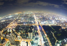 Aerial fisheye view of Osaka in Japan at night Royalty Free Stock Images