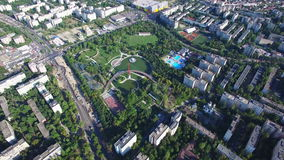 Aerial flight above Bucharest city, Moghioros park, Romania. Hd video stock footage