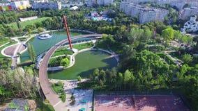 Aerial flight above Moghioros park in Bucharest, Romania stock footage