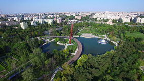 Aerial flight above Moghioros park, Bucharest, Romania. Hd video stock footage