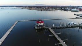 Aerial Flight around Cambridge Maryland & Choptank River stock footage