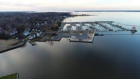 Aerial Flight around Cambridge Maryland & Choptank River stock video
