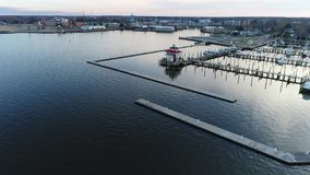Aerial Flight around Cambridge Maryland & Choptank River stock video footage