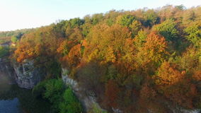 Aerial: flight in canyon, central Ukraine stock video